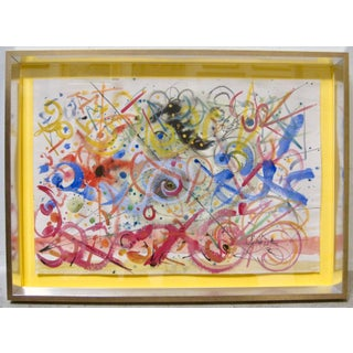 1970s Vintage Hendrick Grise Lyrical Abstract Expressionist Mixed Media Painting Preview