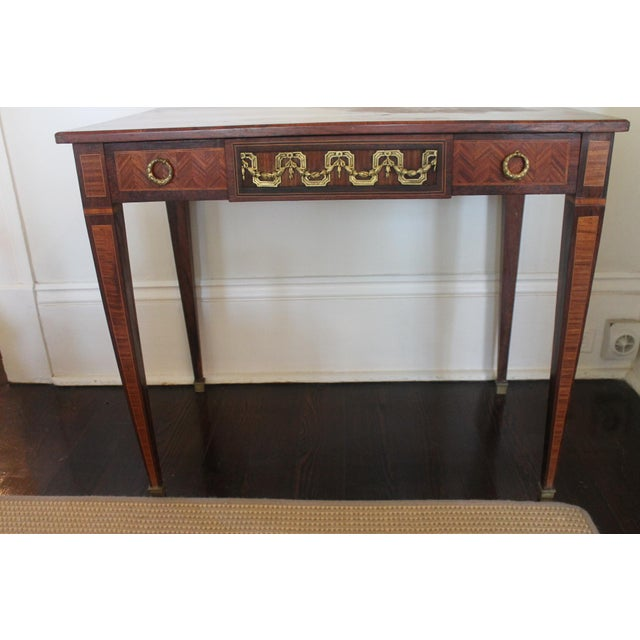 French Transitional Parquetry Inlaid Writing Desk For Sale - Image 13 of 13