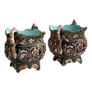 French Hand-Painted Barbotine Cachepots - A Pair