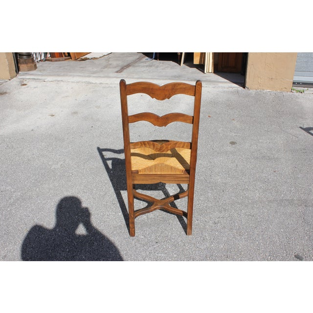 1910s Vintage French Country Rush Seat Solid Walnut Dining Chairs- Set of 6 For Sale - Image 12 of 13
