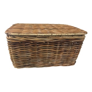 "Woven Cane Basket With Lid 22"" Wide For Sale"