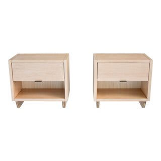 New Modern Solid Oak Bedside Table Nightstands- a Pair For Sale