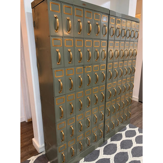 Industrial Mid 20th Century Vintage Industrial Filing Cabinets 36 Drawers-a Pair For Sale - Image 3 of 13