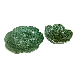 Bordallo Pinheiro Green Cabbage Bowl and Plate For Sale