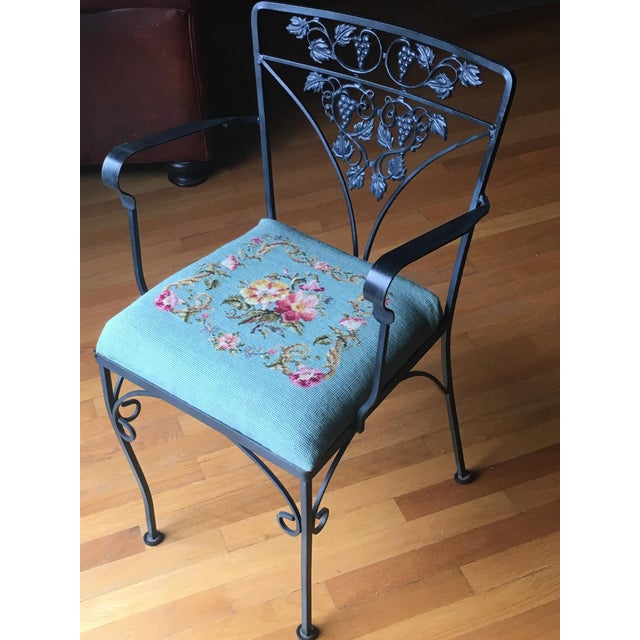 Needlepoint Cushion Wrought Iron Chair - Image 10 of 10