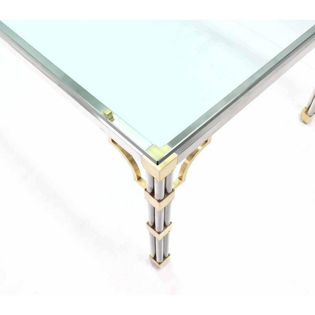 Glass Top Rectangle Chrome Brass Dining Conference Table For Sale In New York - Image 6 of 7