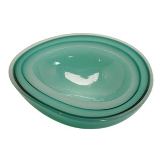 Murano Jade Green Geode Cased Glass Dish Ashtray For Sale