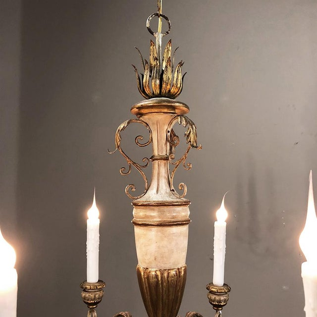 Neoclassical Antique Italian Hand Painted Wood and Iron Chandelier For Sale - Image 3 of 7