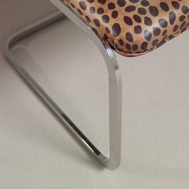 Set of Six Chromium Steel-Framed Cantilevered Dining Chairs, 1960s - Image 4 of 5