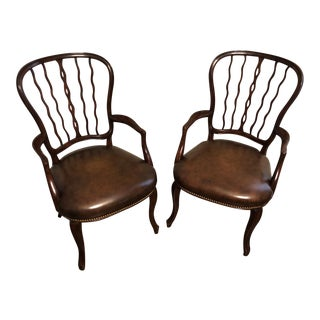 Theodore Alexander Althorp Leather Armchairs - A Pair