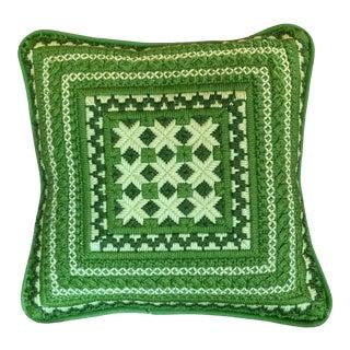 Vintage Green Bargello Needlepoint Pillow For Sale