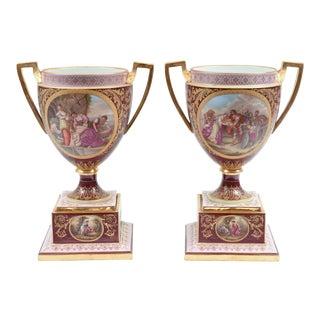Antique Royal Vienna Porcelain Decorative Urns - a Pair For Sale