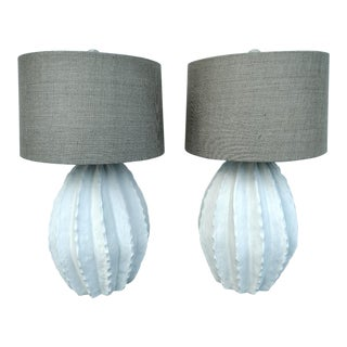 1988 Barrel Cactus Table Lamps, a Pair For Sale