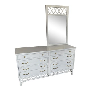Ficks Reed Faux Rattan White Dresser With Mirror For Sale