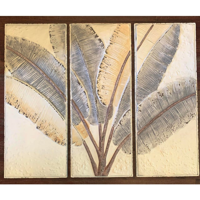 Banana leaf tropical wall art triptych print bring the tropics into your home. Purchased for a display in a client's home....