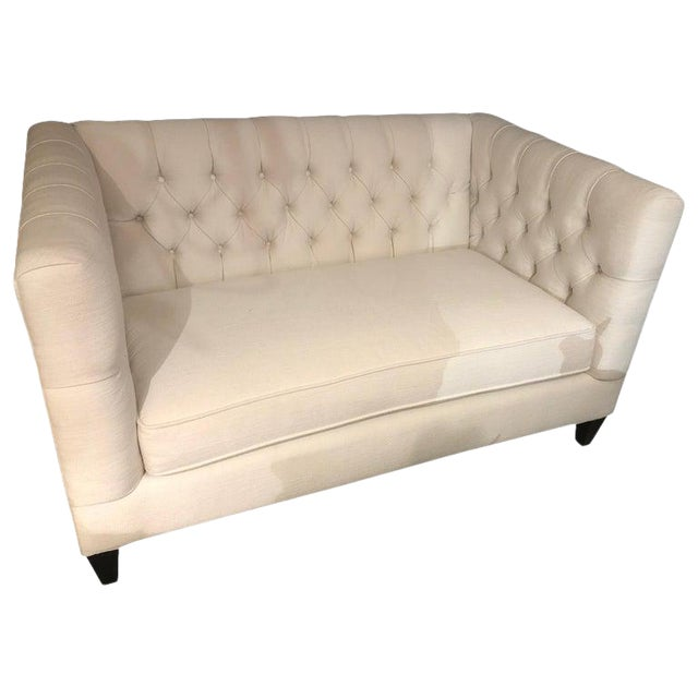 Bernhardt White Tufted Box Shaped Loveseat For Sale