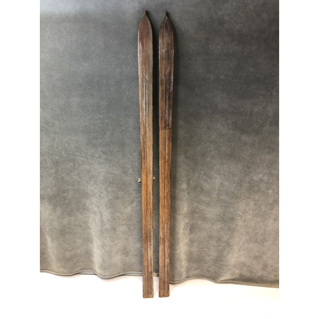 1930s Vintage Rustic Wood Skis - a Pair For Sale - Image 5 of 13