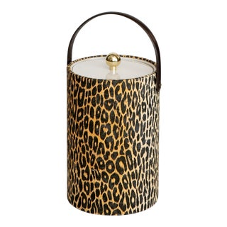 Mid Century Vintage Morgan Leopard Ice Bucket For Sale