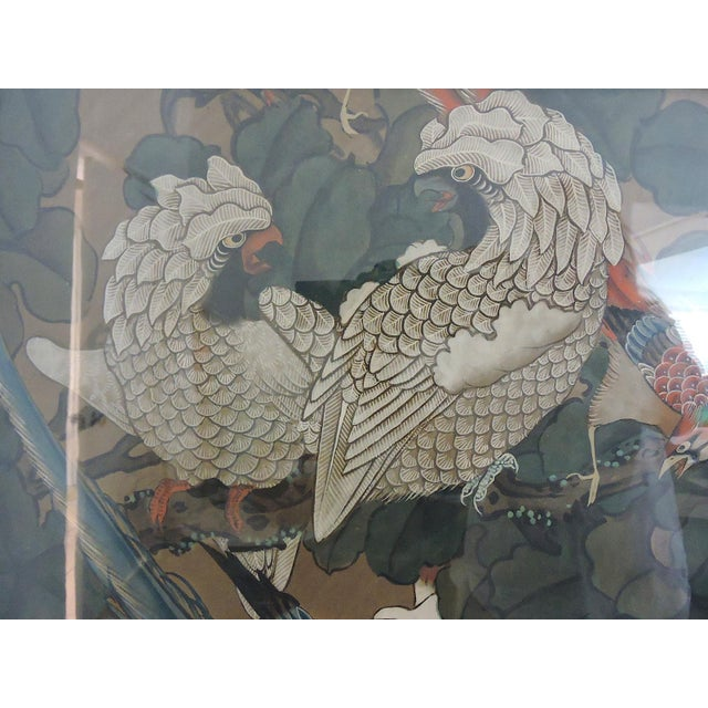 Early 20th Century Antique Chinese Three Panel Folding Oriental Water Colour Screen / Room Divider For Sale - Image 5 of 7