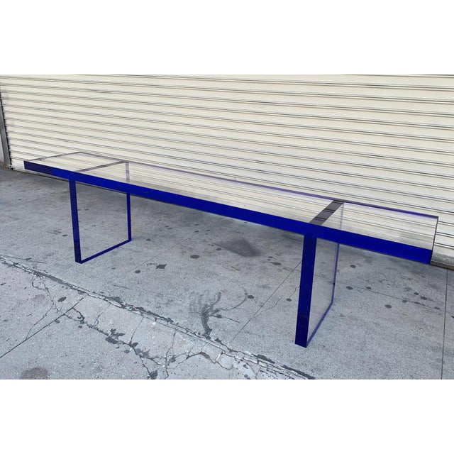 Transparent Custom Bench in Deep Blue and Clear Lucite by Cain Modern For Sale - Image 8 of 13