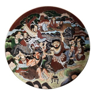 Circa 1900 Japanese Satsuma Porcelain Chosuzan Workshop Plate (Meiji Period) For Sale
