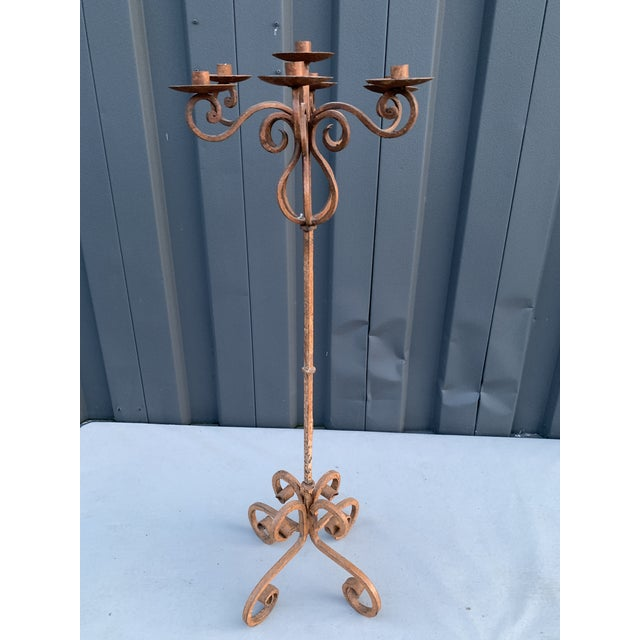Rustic Adjustable Iron Candelabra For Sale - Image 4 of 4