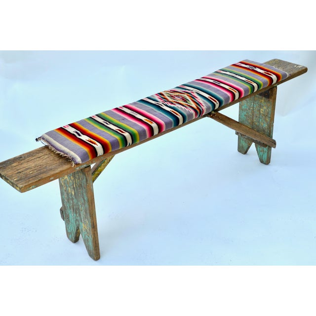 1920s Mexican Wood Bench with Antique Serape Cushion For Sale - Image 4 of 8 - 1920s Mexican Wood Bench With Antique Serape Cushion Chairish