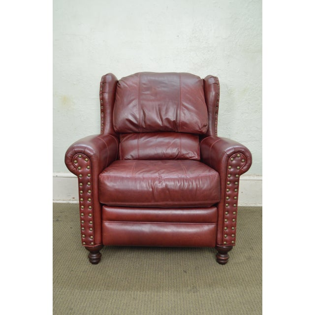 Bradington Young Oxblood Leather Recliner Lounge Chair - Image 2 of 10