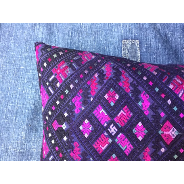 Magenta & Purple Tribal Embroidered Pillow - Image 3 of 6