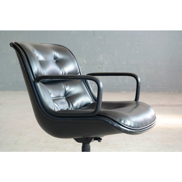 1960s Charles Pollock Executive Chair for Knoll International in Black Leather For Sale - Image 5 of 7