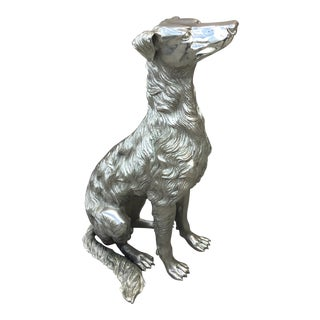 Bronze Polish With Chrome Life Size Dog For Sale