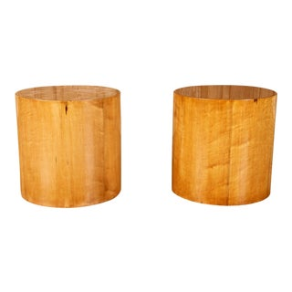 Pair of Cylindrical Wood End Tables For Sale