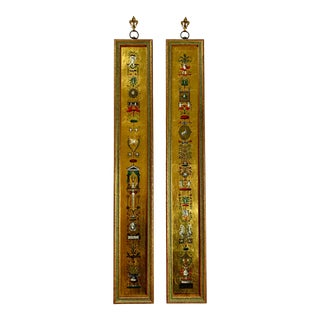 Pair of Gilded Neoclassical Reverse Paint Glass Framed Wall Hangings For Sale
