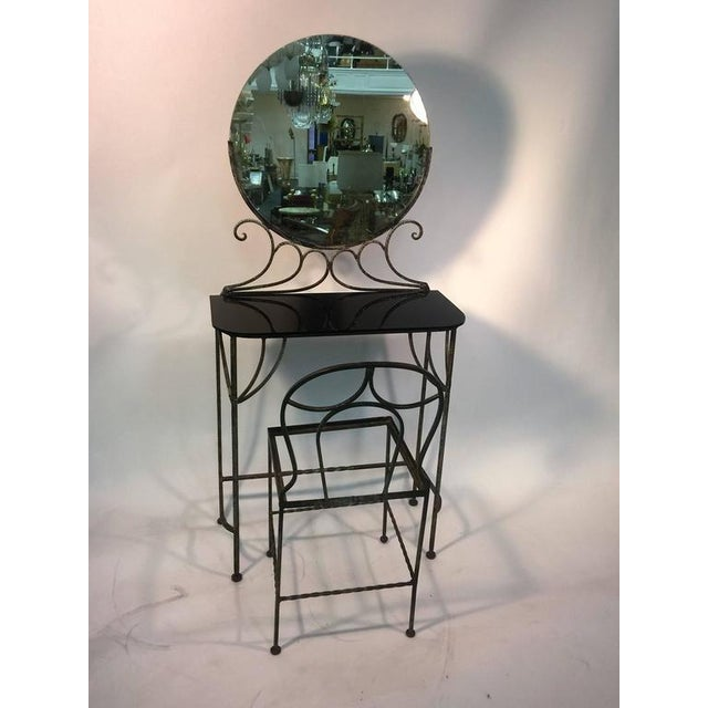 BEAUTIFUL ART DECO WROUGHT IRON VANITY AND CHAIR BY FERRO BRANDT For Sale - Image 11 of 11