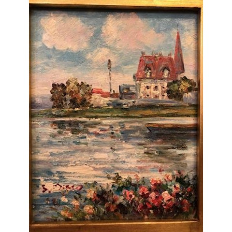 1980s Impressionistic Water Scene Oil on Canvas Painting For Sale - Image 4 of 7