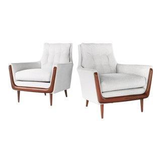 Mid Century Gondola Style Lounge Chairs by Deville- A Pair For Sale