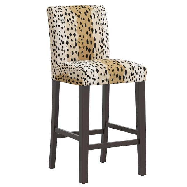 Brown Bar stool in Linen Leopard Caramel For Sale - Image 8 of 8