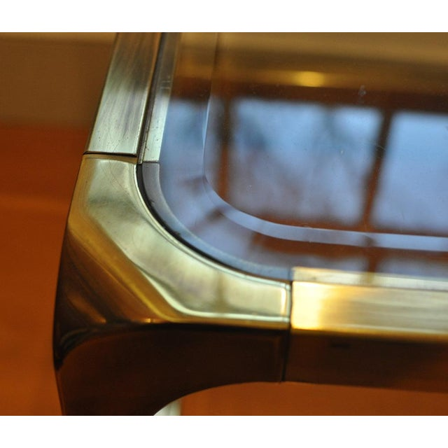 Gold 1970 Hollywood Regency Mastercraft Brass and Glass Low Profile Side Tables - a Pair For Sale - Image 8 of 11