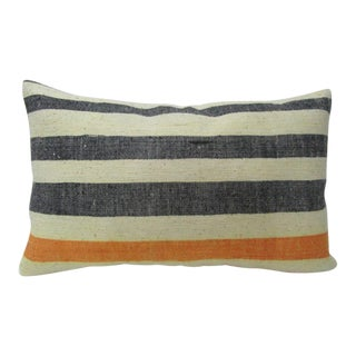 "Turkish Striped Decorative Kilim Pillow Cover - 20"" x 12"" For Sale"