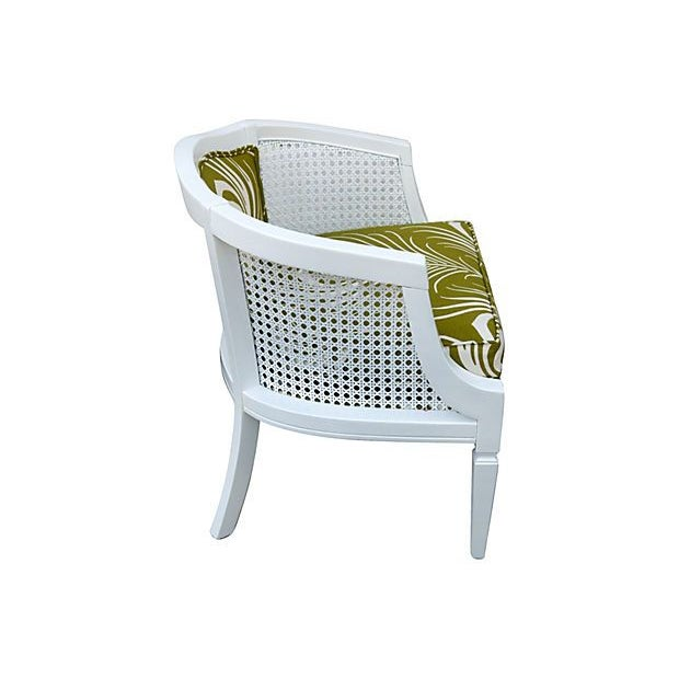 Cane Chair with Green Plume Upholstery - Image 2 of 3