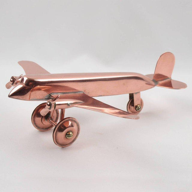 Mid-Century Modern Copper Airplane Model - Image 3 of 11