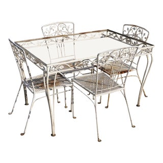 Vintage John Salterini Leaf and Vine Wrought Iron Garden Patio Dining Set- 5 Pieces For Sale