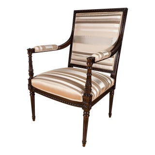 Hollywood Regency Occasional Chair in Ebonized Mahogany and Striped Silk Fabric For Sale
