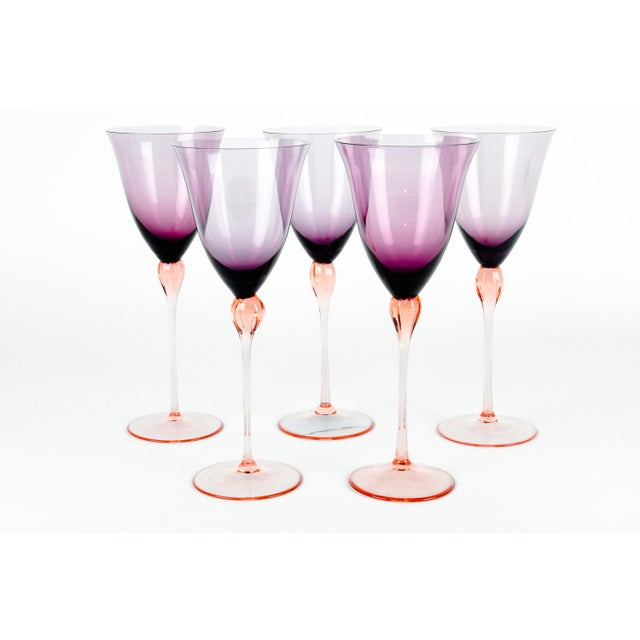 Mid 20th Century Vintage Murano Amethyst Wine Glasses For Sale - Image 5 of 8