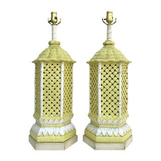 Nardini Studio Pagoda Faux Bamboo Lamps - a Pair