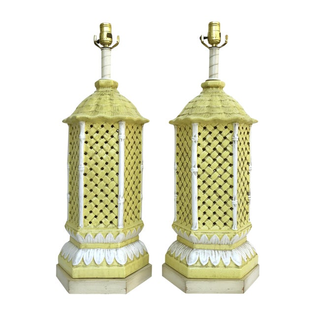 Nardini Studio Pagoda Faux Bamboo Lamps - a Pair - Image 1 of 3