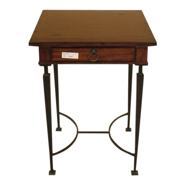 1990s Rustic Labarge Mahogany Top 1 Drawer Table For Sale