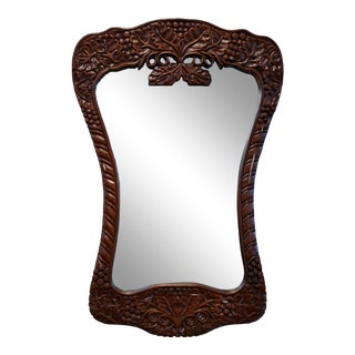 Hand-Carved Solid Wood Hanging Mirror For Sale