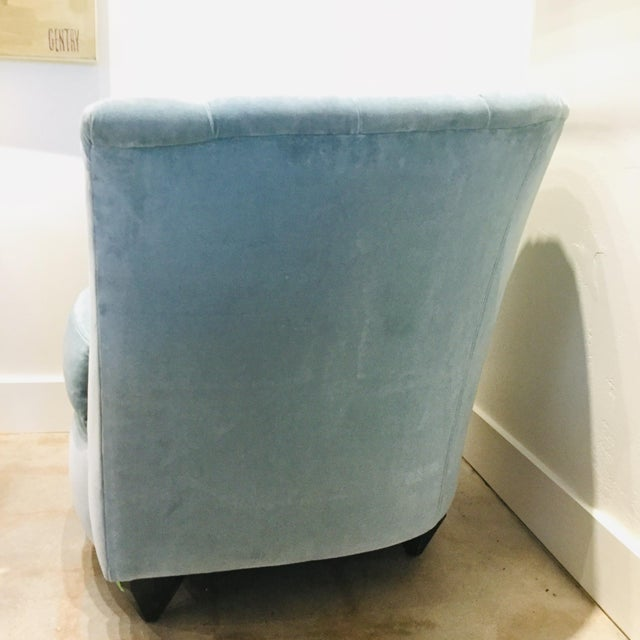 Textile Blue Velvet Chairs- A Pair For Sale - Image 7 of 13