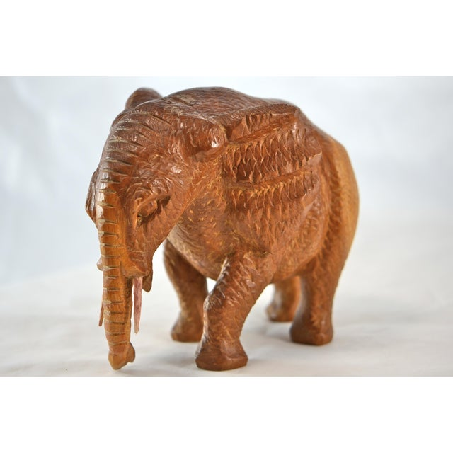 Hand Carved Wood Elephant For Sale - Image 9 of 9